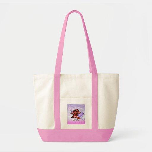 Saco chinês do símbolo do amor bolsas para compras