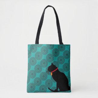 Saco chique do gato preto do aqua para a praia ou bolsa tote