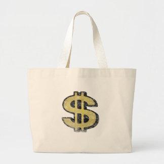 Saco com sinal de dólar amarelo grande sacola tote jumbo