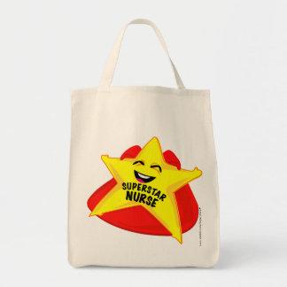 saco cómico da enfermeira da estrela mundial! sacola tote de mercado