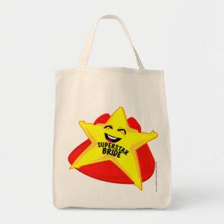 saco cómico da noiva da estrela mundial! sacola tote de mercado