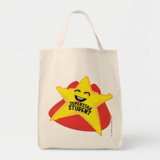 saco cómico do estudante da estrela mundial! sacola tote de mercado
