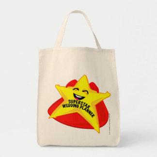 saco cómico do planejador do casamento da estrela  sacola tote de mercado