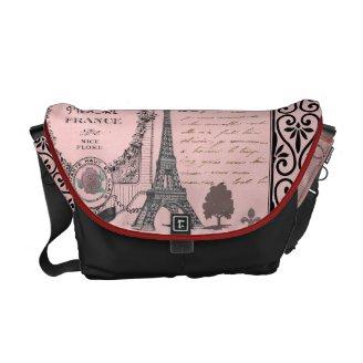Saco cor-de-rosa da colagem de Paris do vintage Bolsa Mensageiro
