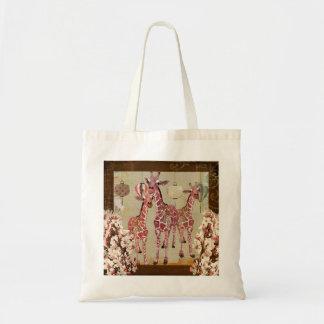 Saco cor-de-rosa da flor de cerejeira dos girafas bolsas para compras