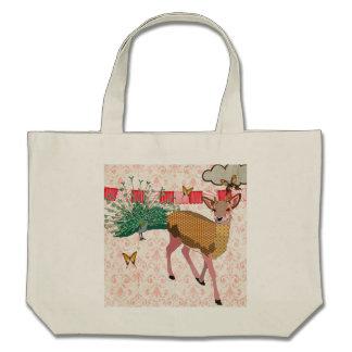 Saco cor-de-rosa do damasco dos cervos & do pavão  bolsas para compras