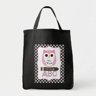 Saco cor-de-rosa do professor da coruja bolsas para compras