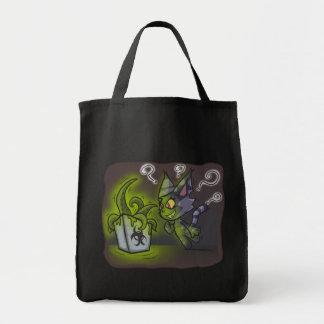 Saco curioso do gatinho bolsa para compras