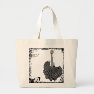Saco da arte da avestruz do vintage sacola tote jumbo