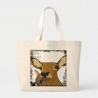 Saco da arte da rena do vintage sacola tote jumbo