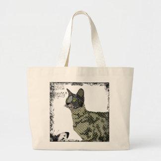 Saco da arte do gato do savana do vintage sacola tote jumbo
