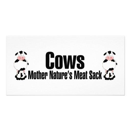 Saco da carne das mães Natureza das vacas Cartão Com Fotos Personalizado