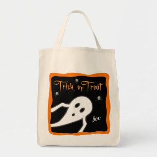 Saco da doçura ou travessura com fantasma e bolsa tote