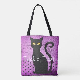 Saco da doçura ou travessura do gato roxo e preto bolsa tote