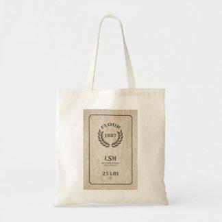 Saco da farinha do vintage sacola tote budget
