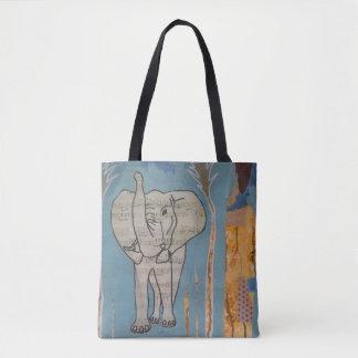 Saco da música do elefante bolsa tote