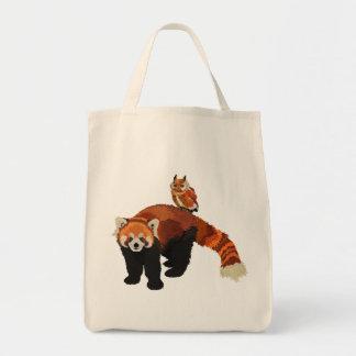 Saco da panda vermelha & da coruja sacola tote de mercado