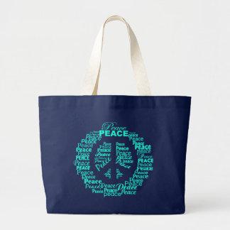Saco da paz - o texto azul, escolhe o estilo bolsa tote grande