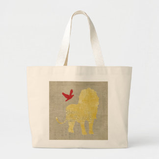 Saco da silhueta do leão do ouro sacola tote jumbo