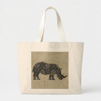 Saco da silhueta dos rinocerontes do vintage bolsas