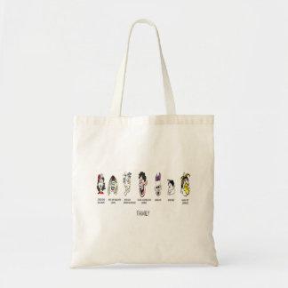 Saco da tira de desenhos animados da família sacola tote budget
