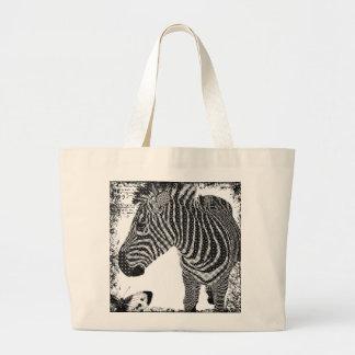 Saco da zebra do vintage sacola tote jumbo
