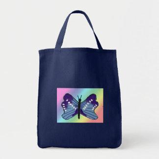 Saco de compras, azul com borboleta sacola tote de mercado