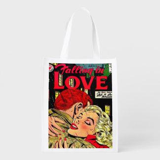 saco de compras cómico, retro de .reusable sacolas ecológicas