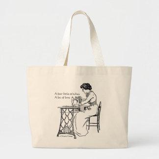 Saco de compras da máquina de costura do vintage sacola tote jumbo