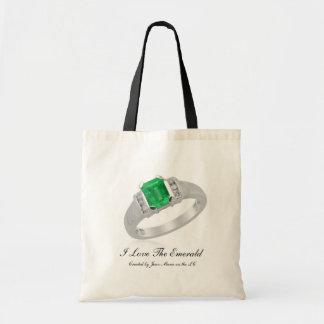 Saco de compras eu amo a esmeralda. Reusável Bolsa Para Compras
