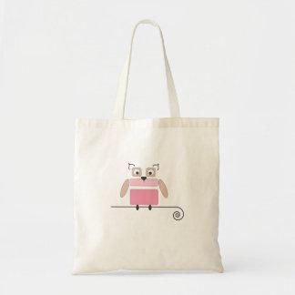 Saco de compras pequeno da coruja cor-de-rosa sacola tote budget
