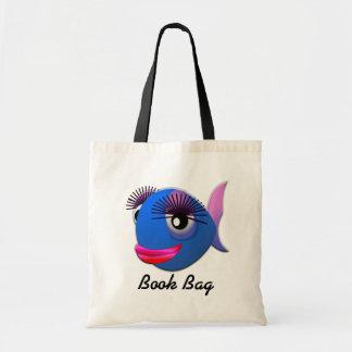 Saco de livro azul tropical dos peixes da menina sacola tote budget