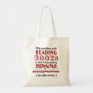 Saco de livro engraçado da leitura sacola tote budget
