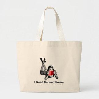Saco de livro eu li livros proibidos bolsas para compras