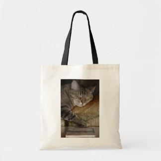 Saco de livro sonolento do gatinho bolsa tote