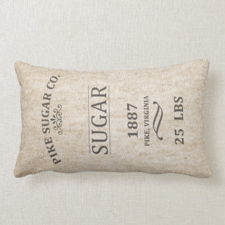 Saco do açúcar do vintage almofada lombar