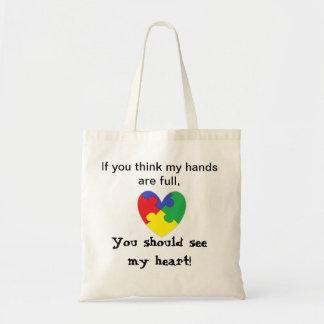 Saco do autismo do coração bolsa para compra