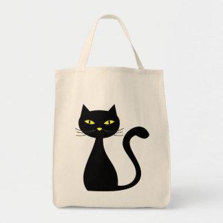 Saco do Dia das Bruxas do gato preto Sacola Tote De Mercado