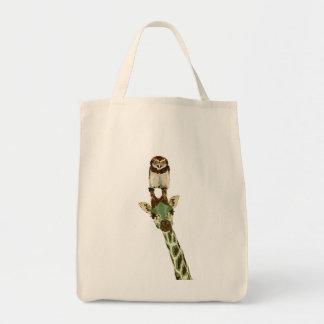 Saco do falcão do girafa & da coruja do jade sacola tote de mercado