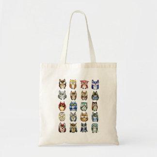 Saco do gato e das corujas bolsas de lona