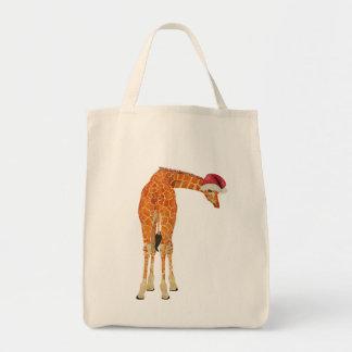 Saco do girafa do papai noel bolsas de lona