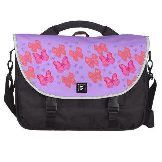 Saco do laptop dos fundos das borboletas cor-de-ro bolsa para laptop