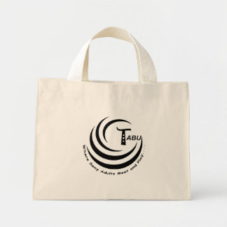 Saco do logotipo do tabu com slogan sacola tote mini