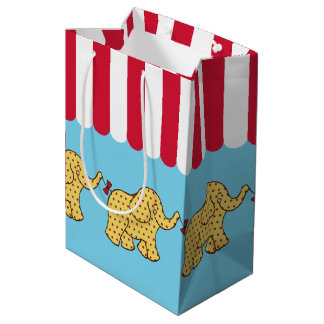 Saco do presente de aniversário dos elefantes do sacola para presentes média
