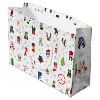Saco do presente de época natalícia do buldogue sacola para presentes grande