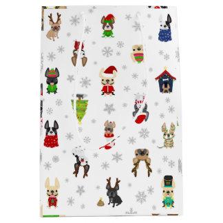 Saco do presente de época natalícia do buldogue sacola para presentes média