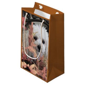 Saco do presente do cão de caniche da acção de sacola para presentes pequena