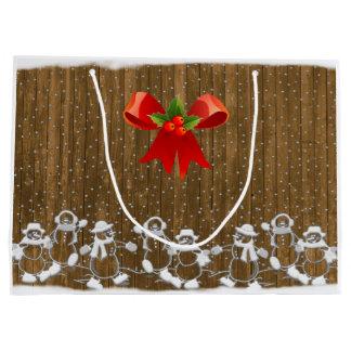 Saco do presente do Natal dos bonecos de neve Sacola Para Presentes Grande