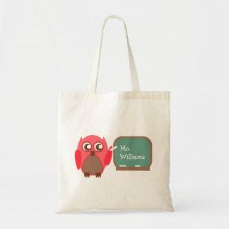 Saco do professor - coruja vermelha no quadro sacola tote budget