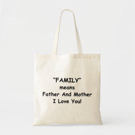 Saco do slogan do amor da família bolsas para compras